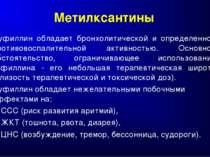 Метилксантины Эуфиллин обладает бронхолитической и определенной противовоспал...