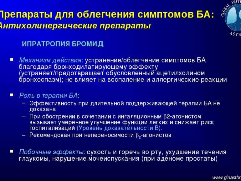 Препараты для облегчения симптомов БА: Антихолинергические препараты ИПРАТРОП...