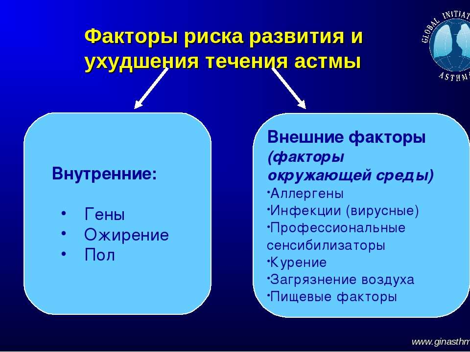 Факторы риска развития и ухудшения течения астмы www.ginasthma.org Внутренние...