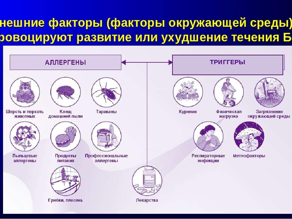 Внешние факторы (факторы окружающей среды) провоцируют развитие или ухудшение...