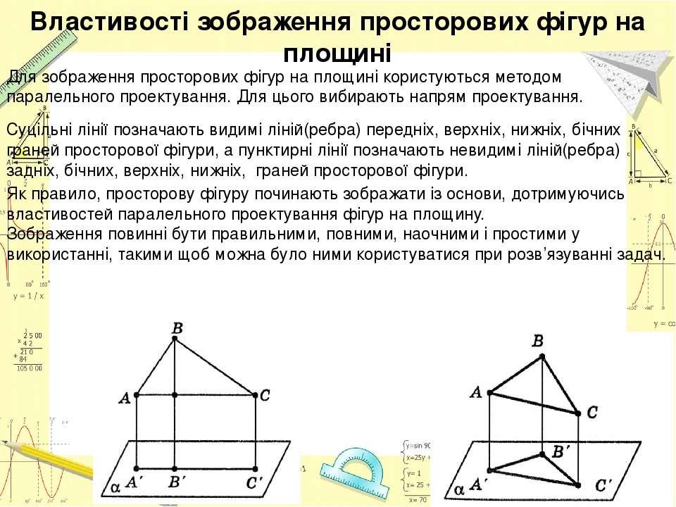 Властивості зображення просторових фігур на площині Для зображення просторови...