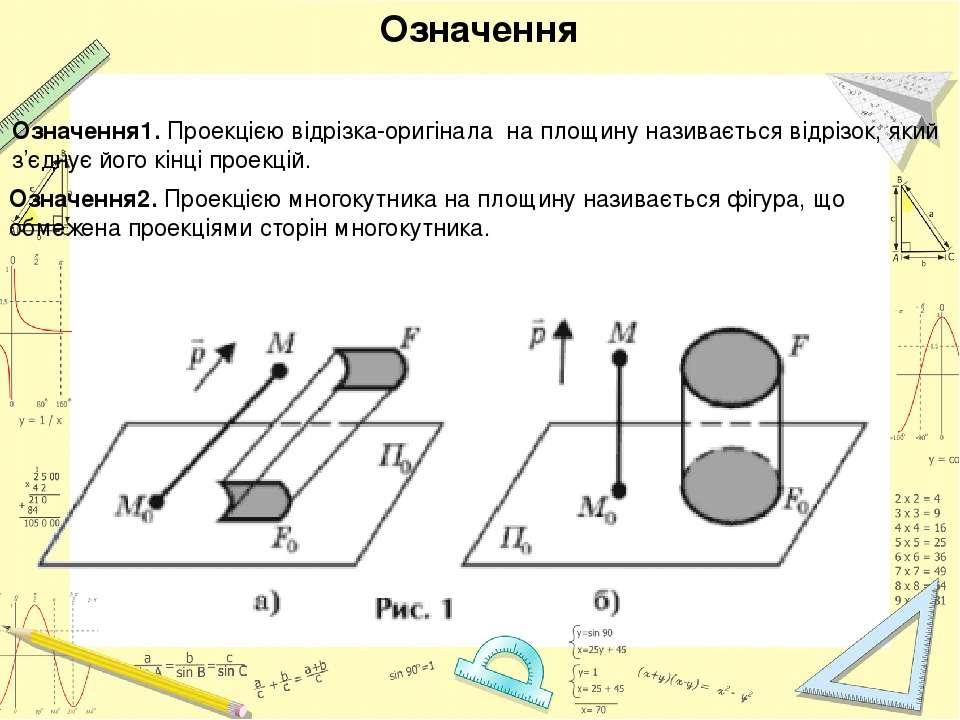 Означення1. Проекцією відрізка-оригінала на площину називається відрізок, яки...