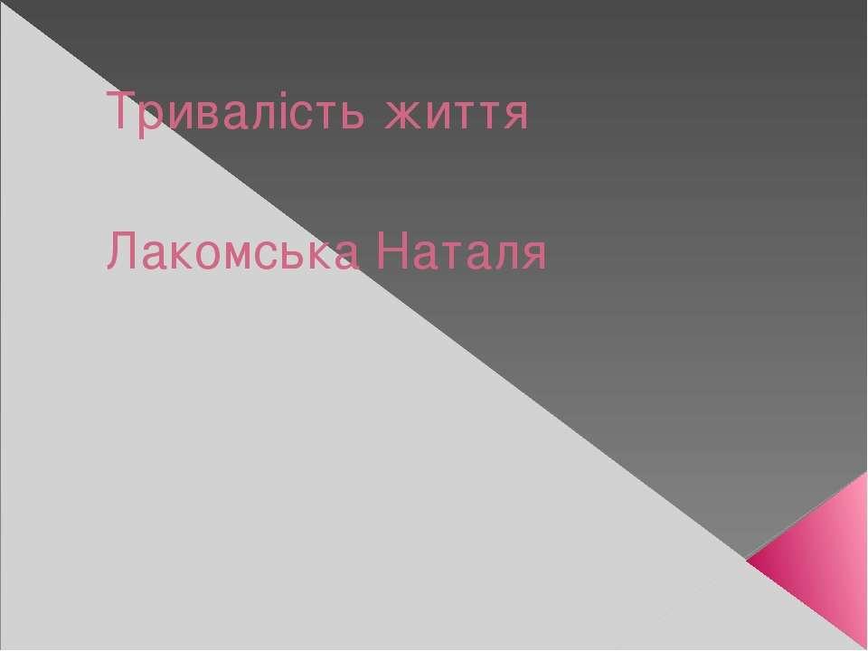 Тривалість життя Лакомська Наталя