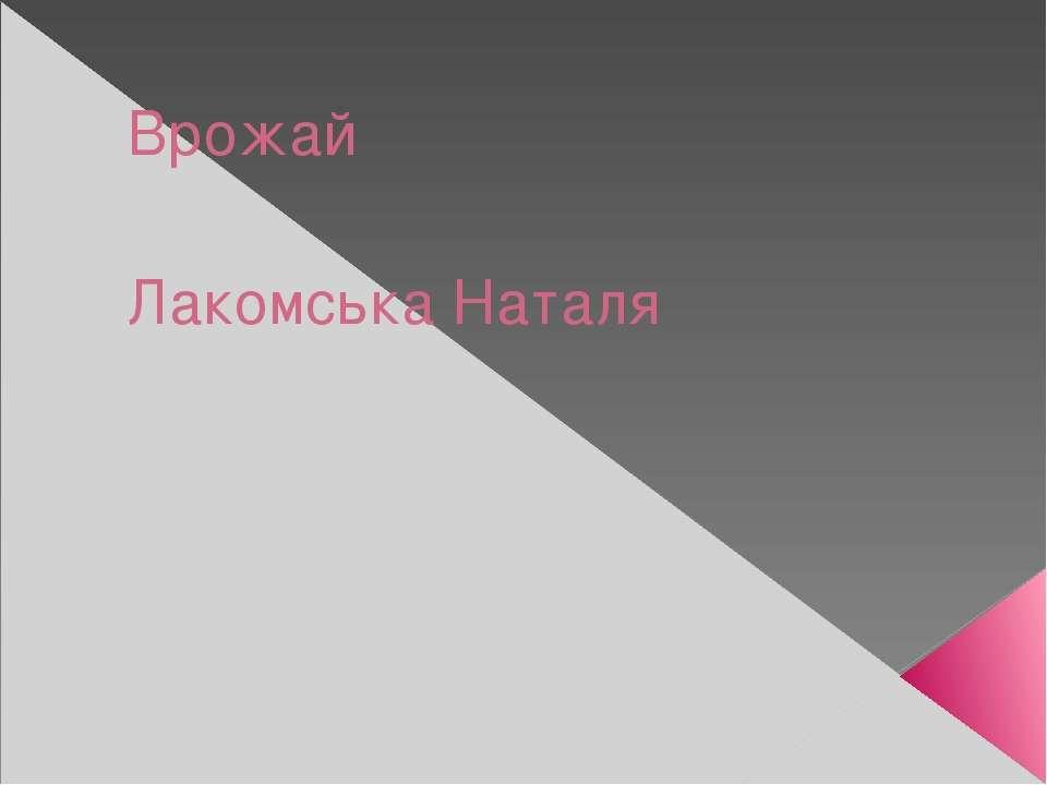 Врожай Лакомська Наталя
