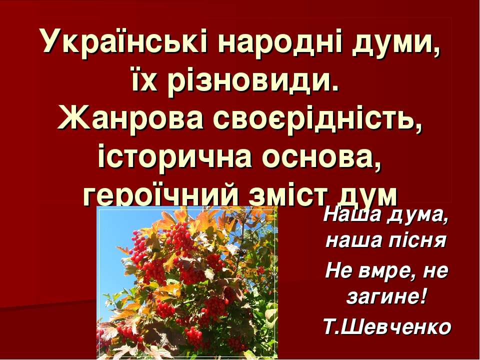 Українські народні думи, їх різновиди. Жанрова своєрідність, історична основа...