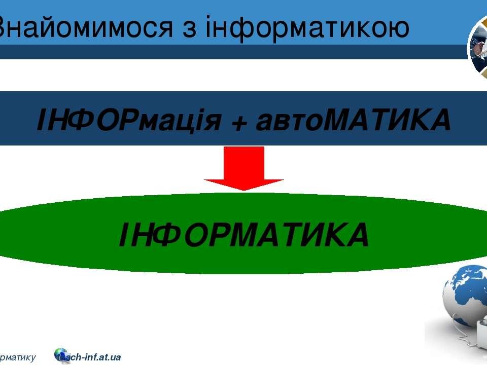 Знайомимося з інформатикою Розділ 1 § 1 ІНФОРмація + автоМАТИКА ІНФОРМАТИКА 2...
