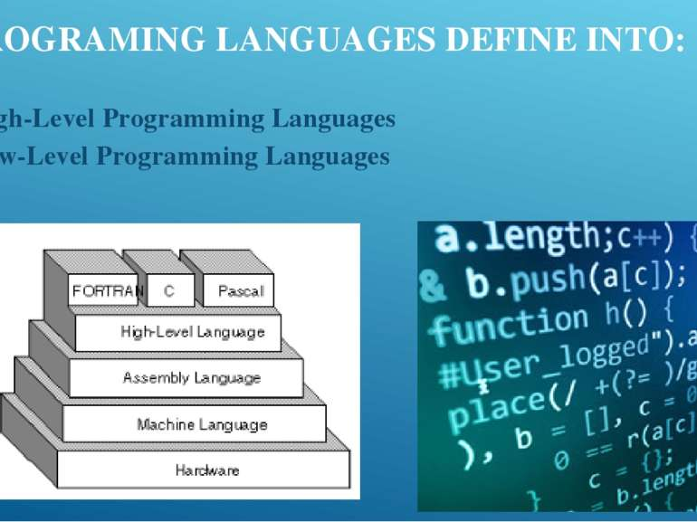 PROGRAMING LANGUAGES DEFINE INTO: High-Level Programming Languages Low-Level ...