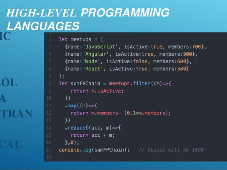 HIGH-LEVEL PROGRAMMING LANGUAGES BASIC C C++ COBOL JAVA FORTRAN ADA PASCAL