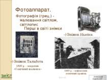 Фотоаппарат. Фотографія (грец.) - малювання світлом, світлопис Перші в світі ...