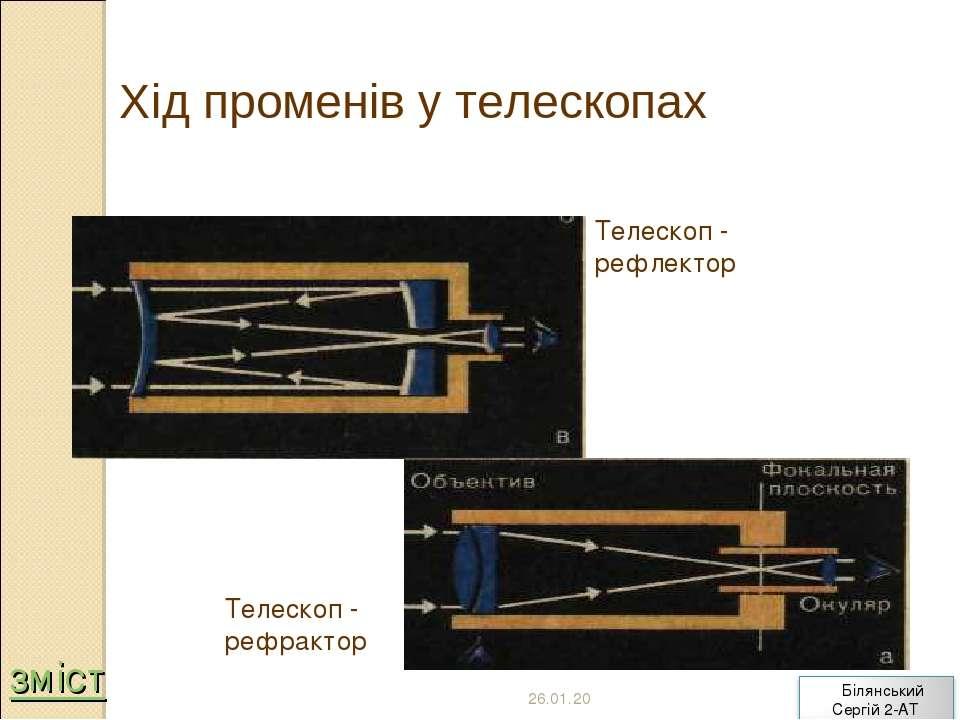 Хід променів у телескопах Телескоп - рефлектор Телескоп - рефрактор * зміст