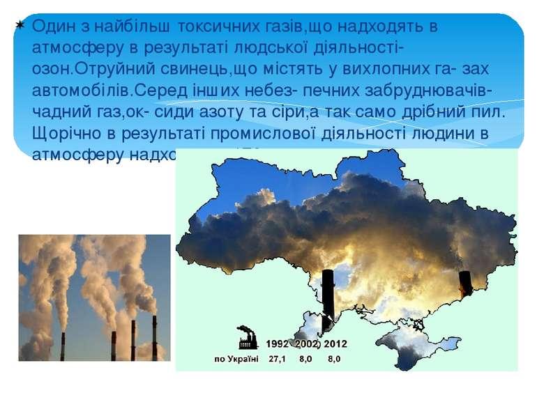 Один з найбільш токсичних газів,що надходять в атмосферу в результаті людсько...
