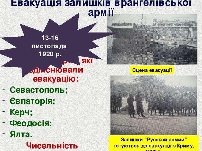 Кримські порти, які здійснювали евакуацію: Севастополь; Євпаторія; Керч; Феод...