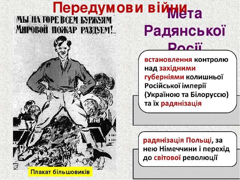 Мета Радянської Росії Передумови війни Плакат більшовиків