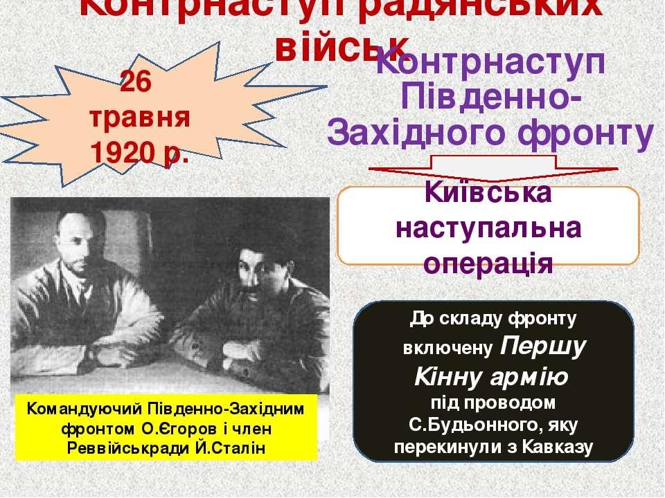 Контрнаступ радянських військ 26 травня 1920 р. Контрнаступ Південно-Західног...