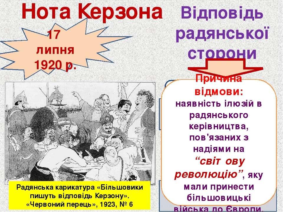 17 липня 1920 р. Відповідь радянської сторони Нота Керзона Радянська карикату...