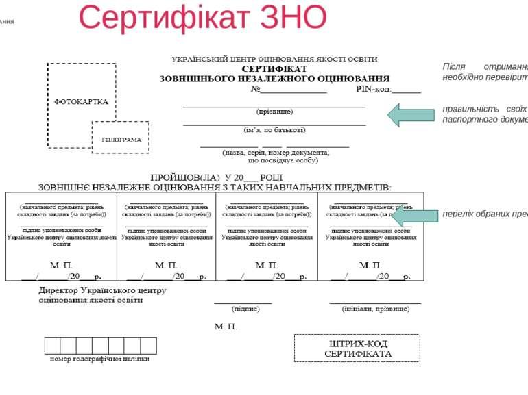 Сертифікат ЗНО Після отримання Сертифікату необхідно перевірити: правильність...