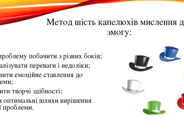 Метод шість капелюхів мислення дає змогу: одну проблему побачити з різних бок...