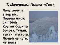 Т. Шевченко. Поема «Сон» Лечу, лечу, а вітер віє, Передо мною сніг біліє, Кру...