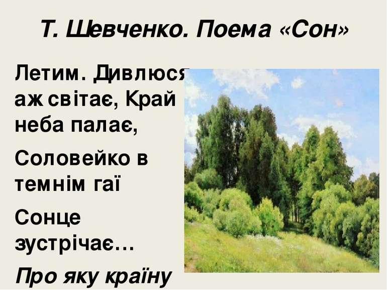 Т. Шевченко. Поема «Сон» Летим. Дивлюся, аж світає, Край неба палає, Соловейк...