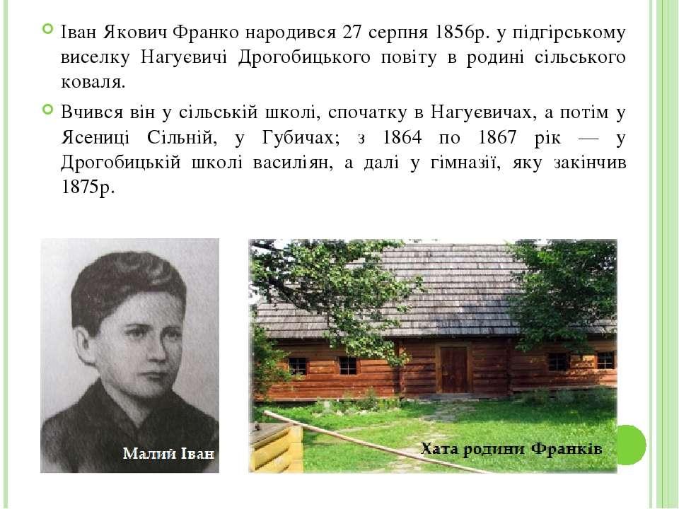 Іван Якович Франко народився 27 серпня 1856р. у підгірському виселку Нагуєвич...