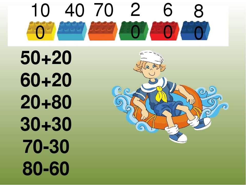 Задача 50+20 60+20 20+80 30+30 70-30 80-60 100 40 70 20 60 80