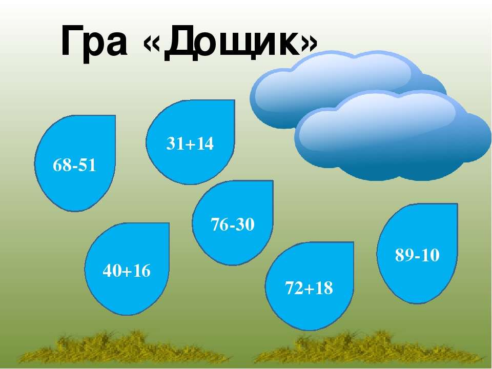 Гра «Дощик» 31+14 68-51 76-30 40+16 72+18 89-10