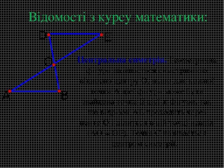 Центральна симетрія. Геометрична фігура називається симетричною відносно цент...