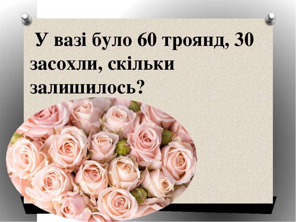 У вазі було 60 троянд, 30 засохли, скільки залишилось?