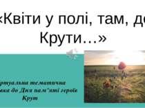 «Квіти у полі, там, де Крути…» Віртуальна тематична виставка до Дня пам'яті г...
