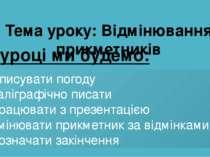 Зараз буде урок української мови Тема уроку: Відмінювання прикметників На уро...