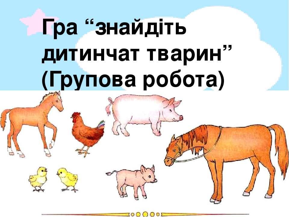 """Гра """"знайдіть дитинчат тварин"""" (Групова робота)"""