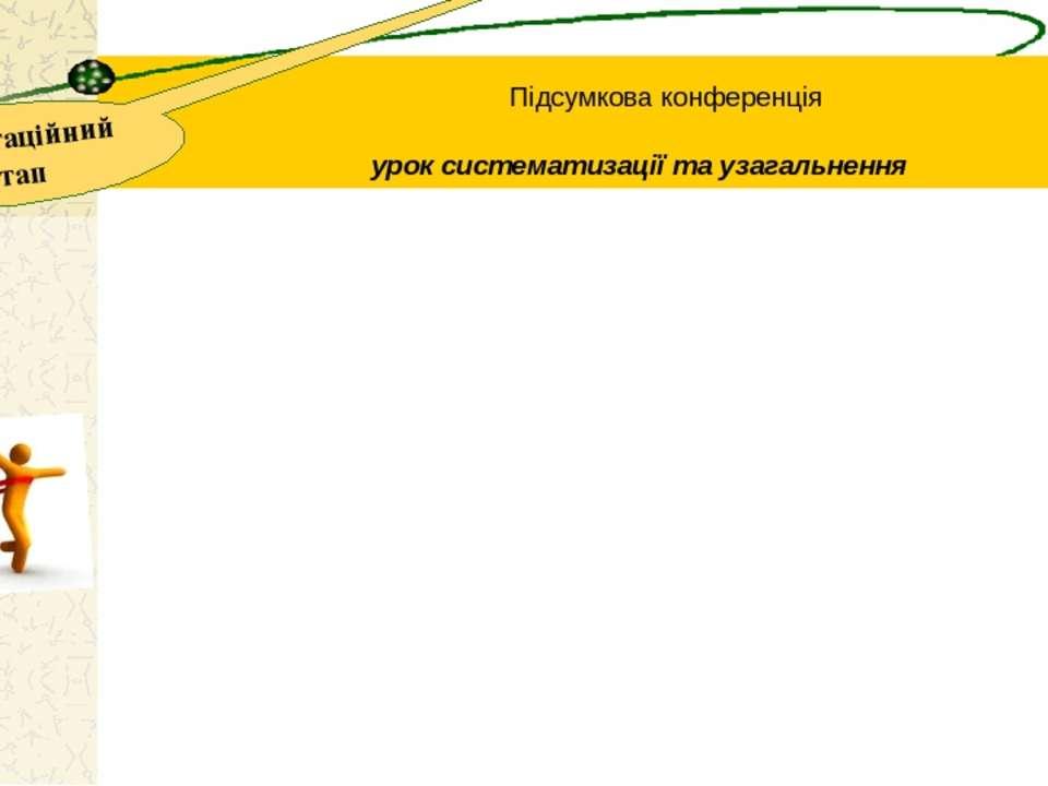 презентаційний етап Підсумкова конференція урок систематизації та узагальнення