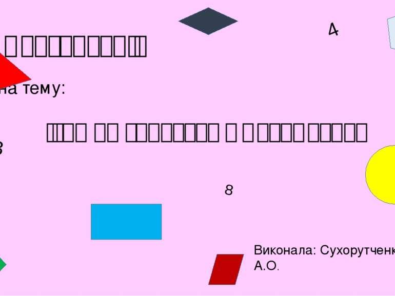 Презентація на тему: Ігри на заняттях з математики Виконала: Сухорутченко А.О...