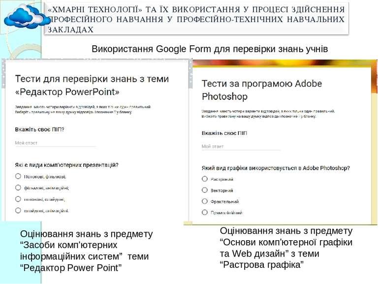 """Оцінювання знань з предмету """"Основи комп'ютерної графіки та Web дизайн"""" з тем..."""