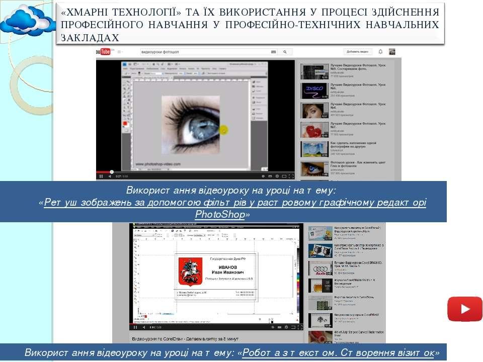 Використання відеоуроку на уроці на тему: «Ретуш зображень за допомогою фільт...
