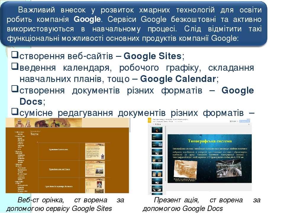 створення веб-сайтів – Google Sites; ведення календаря, робочого графіку, скл...