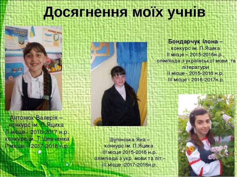 Досягнення моїх учнів Бондарчук Ілона – конкурс ім. П.Яцика ІІ місце – 2015-2...