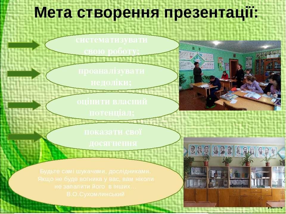 Мета створення презентації: проаналізувати недоліки; показати свої досягнення...