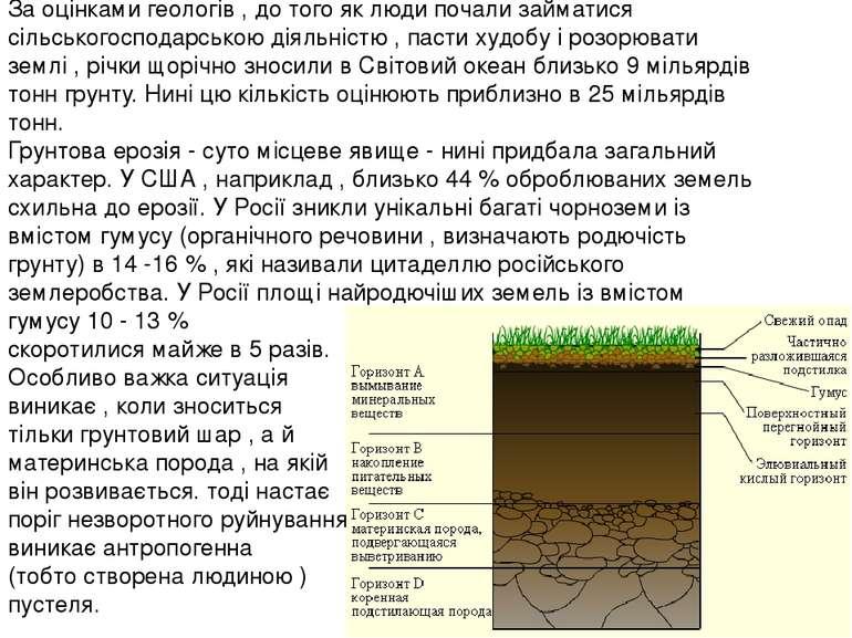 За оцінками геологів , до того як люди почали займатися сільськогосподарською...