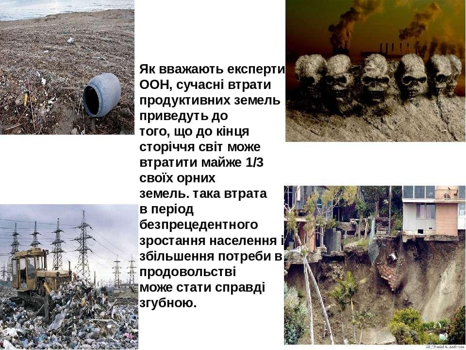 Як вважають експерти ООН, сучасні втрати продуктивних земель приведуть до тог...