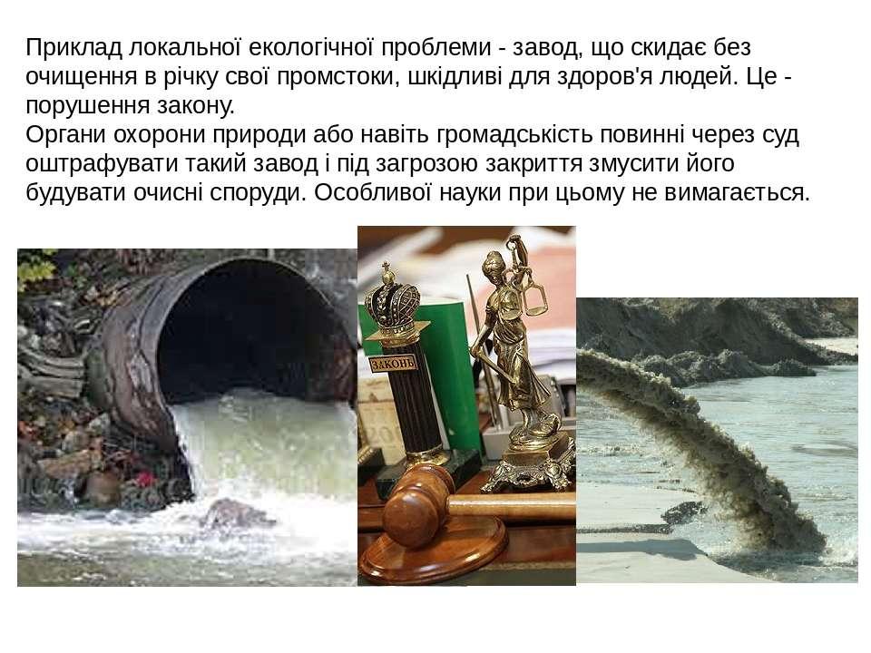 Приклад локальної екологічної проблеми - завод, що скидає без очищення в річк...