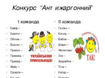 "Конкурс ""Антижаргонний"" І команда Кайф – Хавати – Облом – Братан – Прикол – П..."