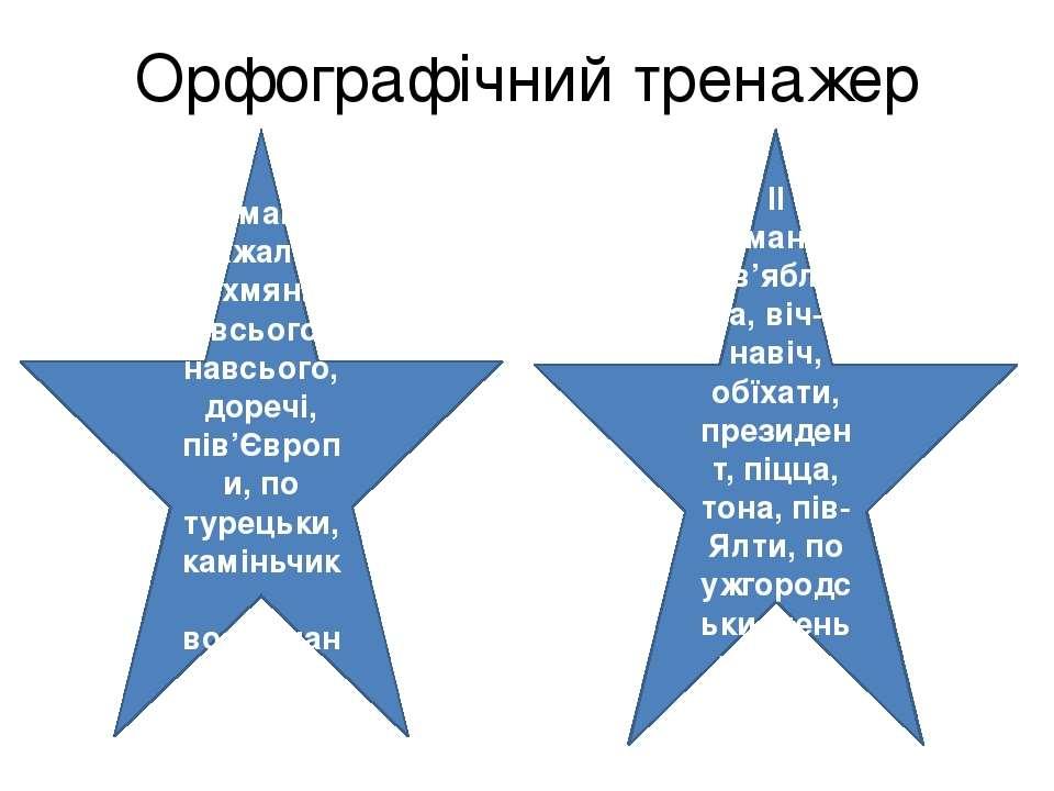 Орфографічний тренажер І команда Нажаль, духмяний, всього-навсього, доречі, п...