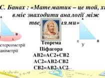 C. Банах : «Математик – це той, хто вміє знаходити аналогії між твердженнями»...