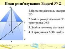 План розв'язування Задачі № 2 1.Провести діагональ квадрату ВD 2.Знайти розмі...