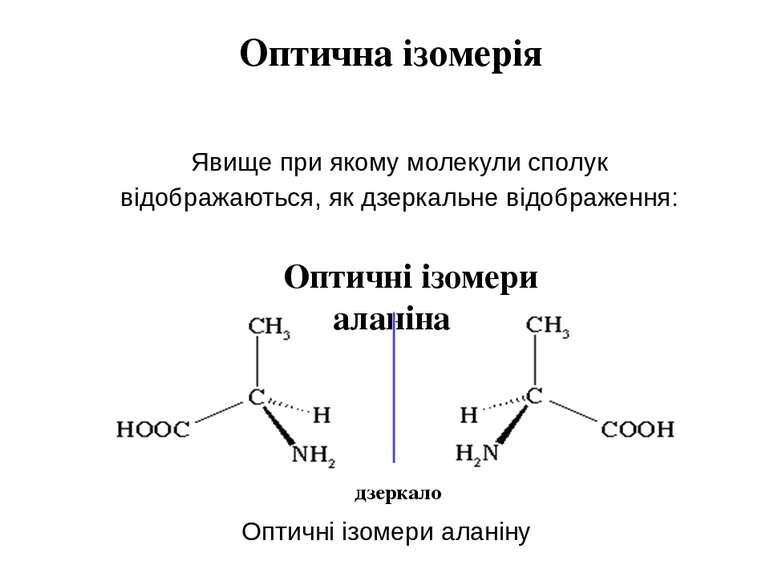 Оптична ізомерія Явище при якому молекули сполук відображаються, як дзеркальн...