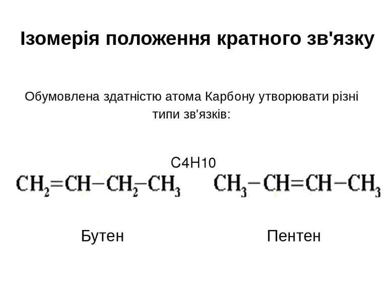 Ізомерія положення кратного зв'язку Обумовлена здатністю атома Карбону утворю...