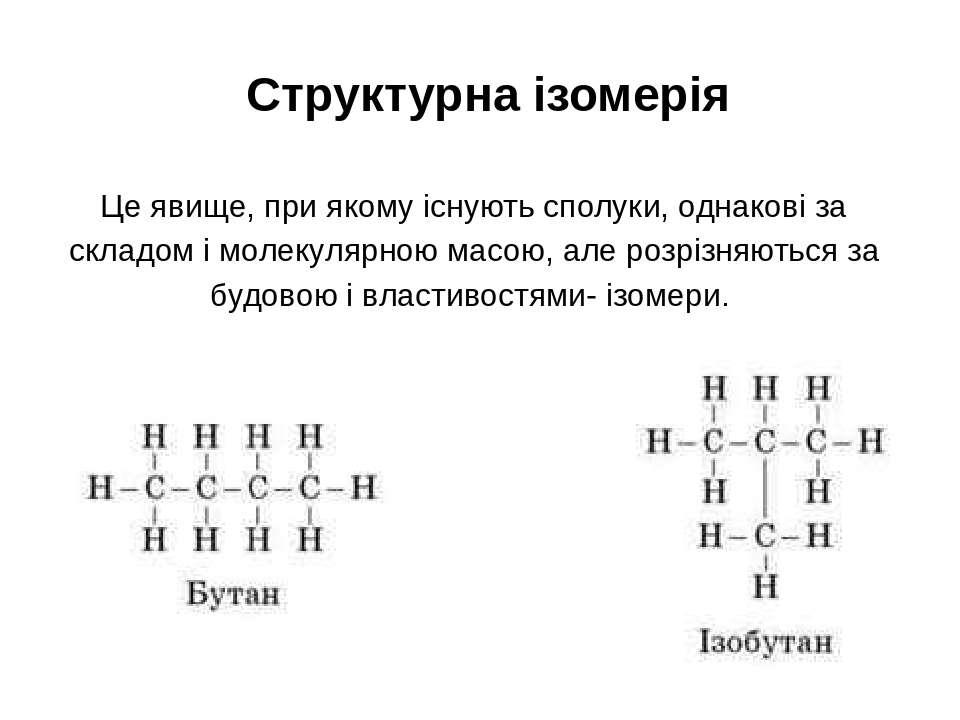 Структурна ізомерія Це явище, при якому існують сполуки, однакові за складом ...