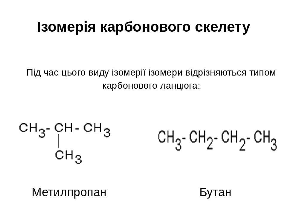 Ізомерія карбонового скелету Під час цього виду ізомерії ізомери відрізняютьс...