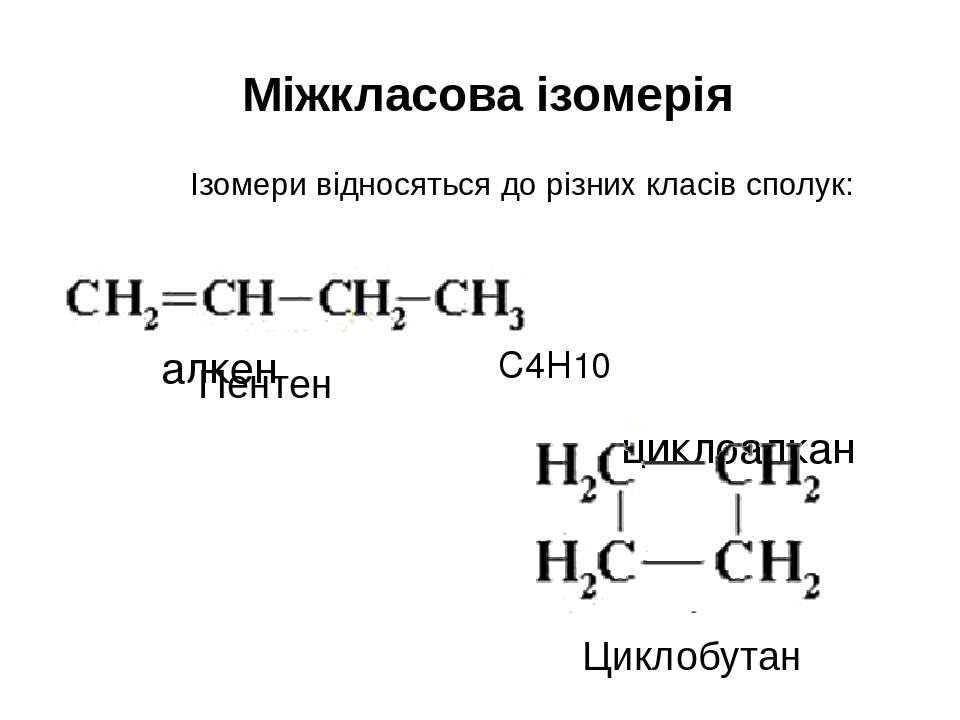 Міжкласова ізомерія Ізомери відносяться до різних класів сполук: алкен циклоа...